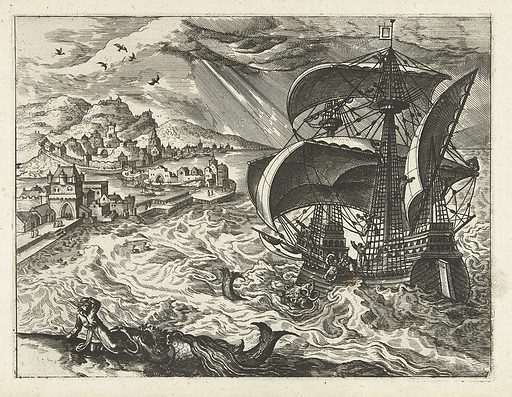 Seascape with Jonah and the whale. Origin: Low Countries. Date: in or after 1570 – c 1580. Object ID: RP-P-1993-100.