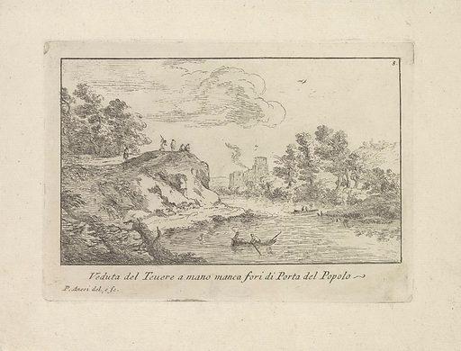Landscape with the Tiber and the Porta del Popolo. Origin: Rome. Date: 1725. Object ID: RP-P-1971-84.