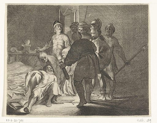Cato's suicide. Origin: Northern Netherlands. Date: 1632 – 1634. Object ID: RP-P-BI-701.
