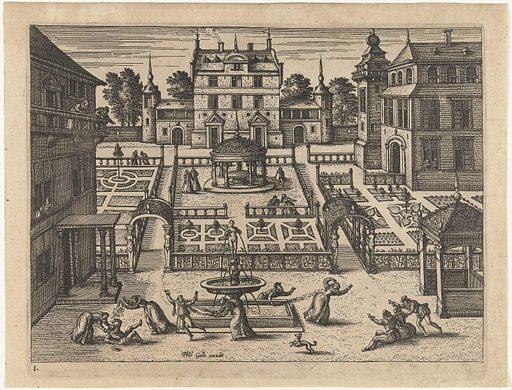 Play around the fountain. Origin: ? Antwerp. Date: 1545 – 1608. Object ID: RP-P-1964-2992.