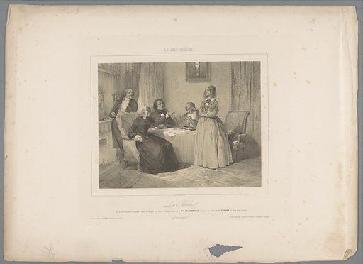Adrienne de Cardoville rebels against her aunt. Origin: Paris. Date: 1844. Object ID: RP-P-1905-1112.