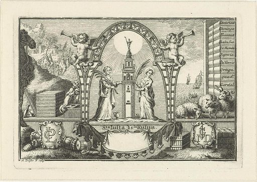 Allegory with Justa and Rufina and objects from the wool trade. Origin: Leiden. Date: 1763. Object ID: RP-P-BI-6957.