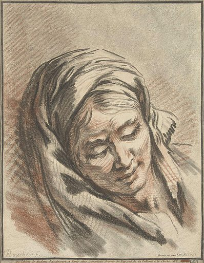 Head of woman with headscarf. Origin: Paris. Date: 1767. Object ID: RP-P-BI-7028.
