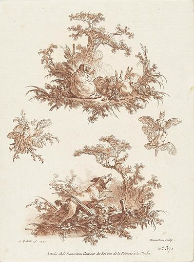 Two scenes, top: ram and rabbits, bottom: barking dog and squirrel. Origin: Paris. Date: 1772 – 1776. Object ID: RP-P-1948-138.