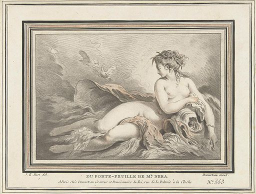 Sea nymph on dolphin, two turtledoves in the air. Origin: Paris. Date: 1732 – 1776. Object ID: RP-P-1907-3943.
