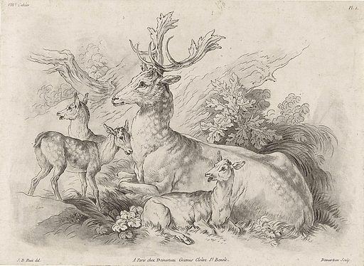 Resting deer. Origin: Paris. Date: 1732 – 1776. Object ID: RP-P-1950-14.