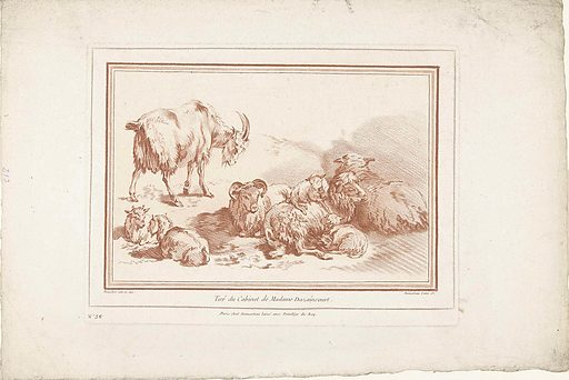 Lying sheep with lambs and goat with young. Origin: Paris. Date: 1732 – 1776. Object ID: RP-P-1951-98.
