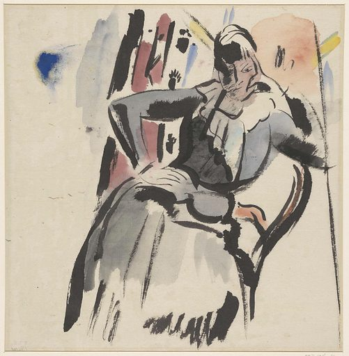 Seated woman. Date: 1915. Object ID: RP-T-1916-14.