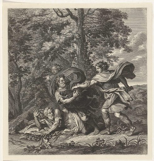 Meleager competes with his uncles for the boar's head. Date: 1702 – 1767. Object ID: RP-P-1904-2350.
