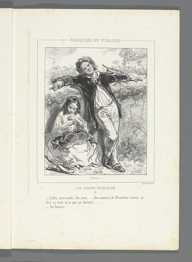 Little girl with flowers and her uncle. Origin: Paris. Date: 1853. Object ID: RP-P-1898-A-21416.