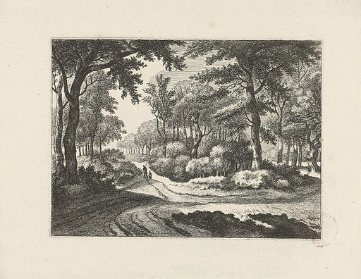 Forest landscape with two walkers. Origin: Amsterdam. Date: 1679 – 1728. Object ID: RP-P-OB-55.913.
