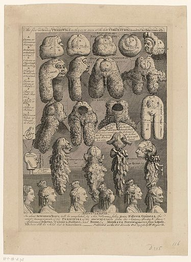 Ordering of wigs. Date: 1761. Object ID: RP-P-OB-18.718.