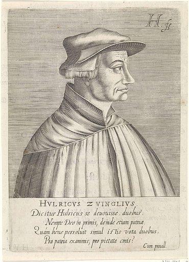 Portrait of Ulrich Zwingli. Origin: The Hague. Date: 1599. Object ID: RP-P-1908-2650.