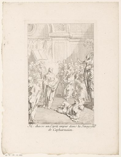 Christ heals an obsessed man in the synagogue. Origin: Paris. Date: 1705 – in or before 1732. Object ID: RP-P-OB-43.669.