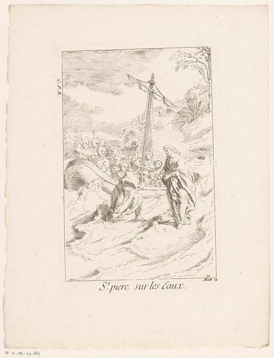 Peter walks on the water to Christ. Origin: Paris. Date: 1705 – in or before 1732. Object ID: RP-P-OB-43.683.