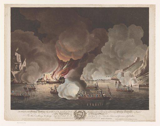 Destruction of ships off Gibraltar, September 14, 1782. Origin: London. Date: 1783. Object ID: RP-P-OB-19.249.