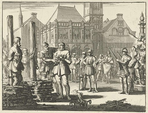 Pieter Pietersz. Bekjen tied to the stake with a fellow sufferer, is encouraged from the doorstep of the Waag by Willem Jansz., 1569. Origin: Amsterdam. Date: 1693. Object ID: RP-P-OB-44.427.