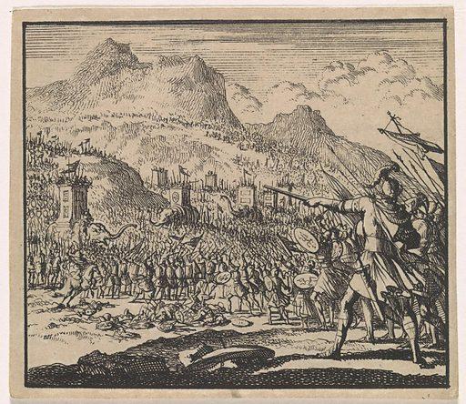 Judas Makkabaeus fights Antiochus Eupator's army. Origin: Amsterdam. Date: 1698. Object ID: RP-P-OB-44.709.
