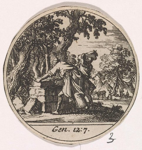 Abraham is building an altar. Origin: Amsterdam. Date: 1700. Object ID: RP-P-OB-44.874.