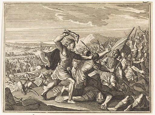 Samson defeats the Philistines with a donkey's jaw
