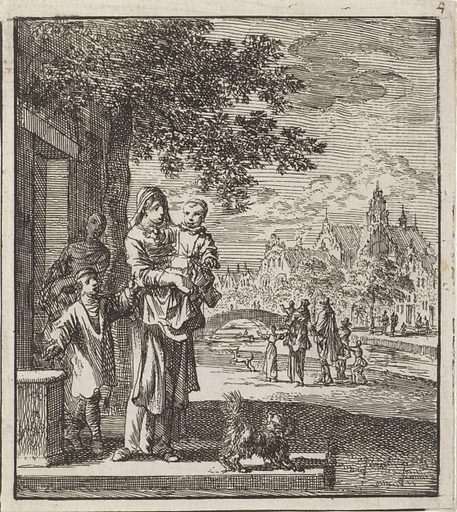 Mother with child on the sidewalk in front of her house. Origin: Amsterdam. Date: 1712. Object ID: RP-P-OB-46.099.