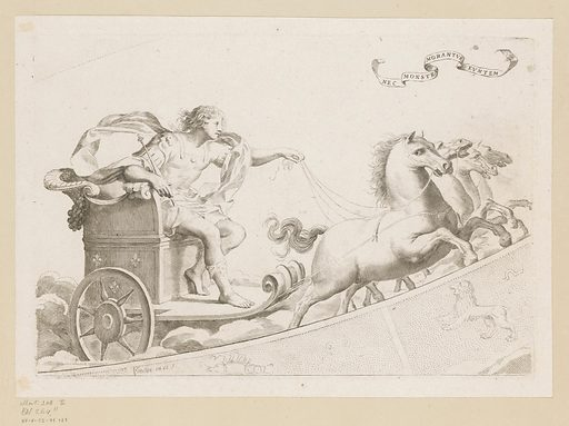 Louis XIV of France in a chariot driving through the zodiac. Date: 1608 – 1688. Object ID: RP-P-OB-71.121.