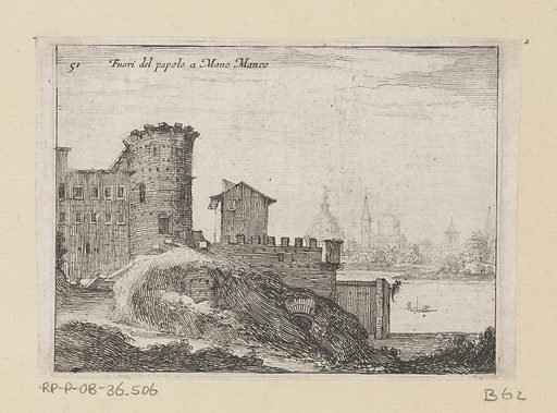 Buildings in Rome, near the Porta del Popolo. Origin: Italy. Date: 1629. Object ID: RP-P-OB-36.506.