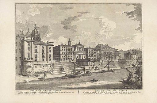 Porto di Ripetta in Rome. Origin: Italy. Date: c 1750 – c 1799. Object ID: RP-P-1944-1660.