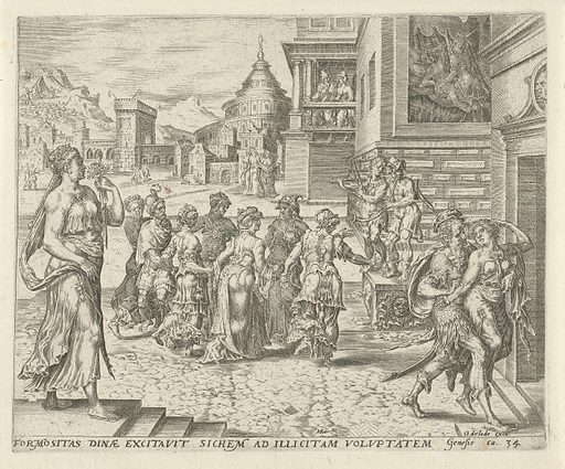 Dina overwhelmed and raped by Shechem. Origin: Amsterdam. Date: 1579 – 1585. Object ID: RP-P-1904-3329.
