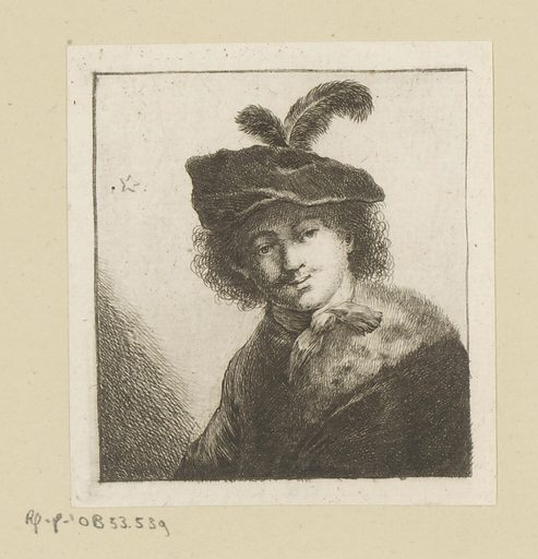 Man with beret with feather and fur collar