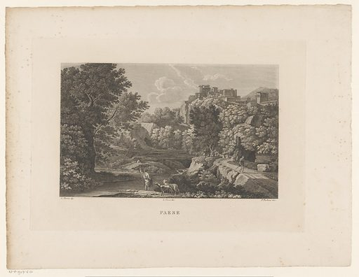 Landscape with a settlement on a hill. Origin: Italy. Date: 1800 – 1899. Object ID: RP-P-1907-5101.