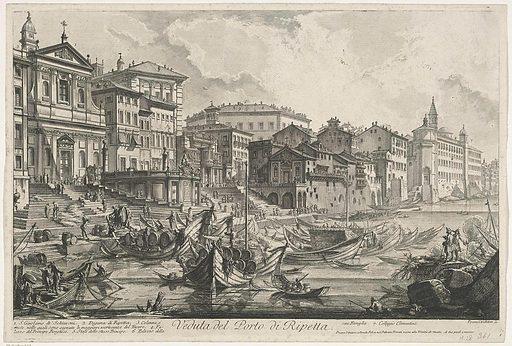 Porto di Ripetta in Rome. Origin: Rome. Date: 1748 – 1778. Object ID: RP-P-1941-593.