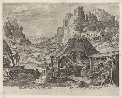 Tubal-Cain in his forge. Origin: Antwerp. Date: 1583. Object ID: RP-P-OB-5408.