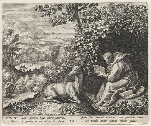 Saint Aegidius of Nîmes as a hermit. Date: 1594. Object ID: RP-P-OB-60.296.