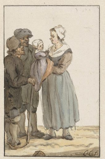 Woman with child in two men. Date: 1758 – 1808. Object ID: RP-T-1921-127.