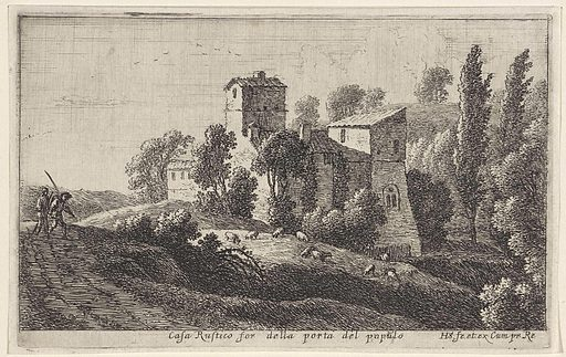 Farmhouse outside the Porta del Popolo. Origin: Paris. Date: 1652 – 1653. Object ID: RP-P-OB-60.896.