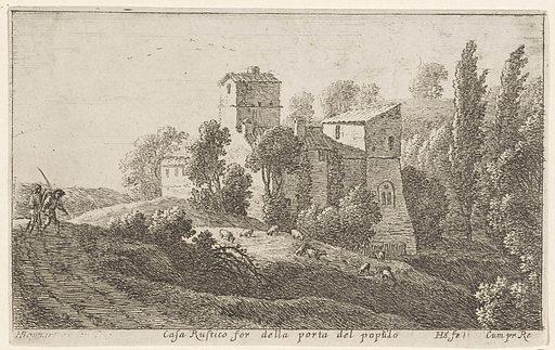 Farmhouse outside the Porta del Popolo. Origin: Paris. Date: 1652 – 1653. Object ID: RP-P-OB-60.897.