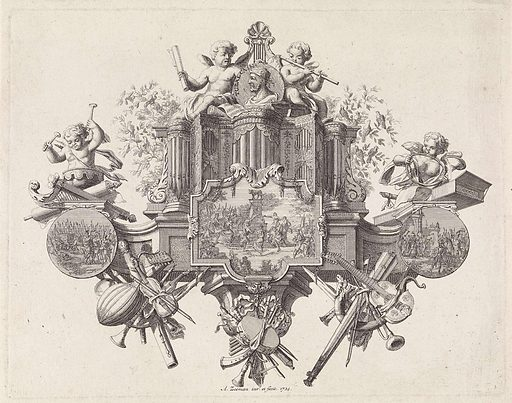 Allegorical performance about music around the portrait of Tubal-Cain. Origin: Amsterdam. Date: 1724. Object ID: RP-P-OB-24.847.