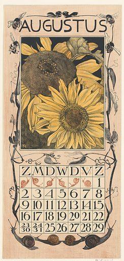 August calendar sheet with sunflowers
