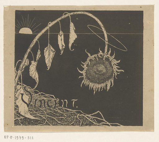Cover design for: Richard Roland Holst, Exhibition of bequeathed works by Vincent Van Gogh, 1892.