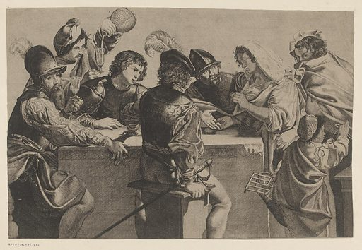 Fortune teller and soldiers around a table block