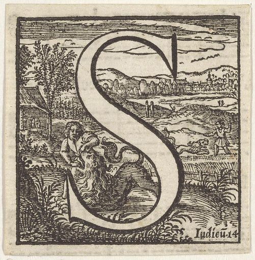 Letter S in a frame depicting Samson killing the lion with his bare hands