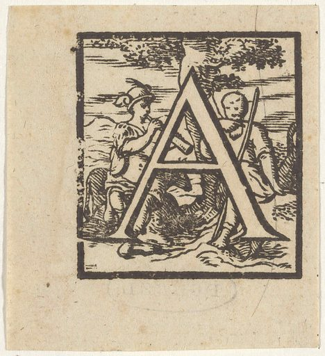 Letter A in a frame with a depiction of a shepherd and a figure with a winged helmet blowing a trumpet