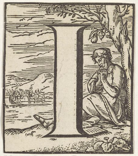 Letter I in a frame depicting a praying man with a book under a tree