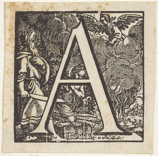 Letter A in a frame depicting Abraham sacrificing Isaac