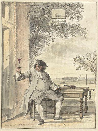 Resting walker in front of the inn De Mosse Knip. Date: 1706 – 1750. Object ID: RP-T-FM-149.