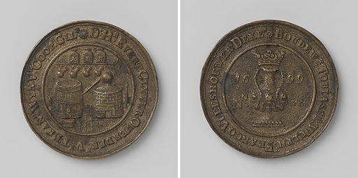 Brandy seller guild of Vlissingen, guild medal with no. 38. Origin: Flushing. Date: 1699. Object ID: NG-VG-7-561.
