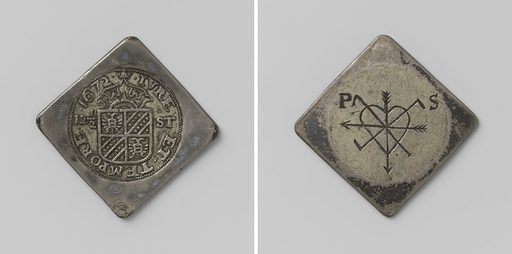 Emergency currency of quarter of a siege of Groningen. Date: 1672. Object ID: NG-VG-4-364.