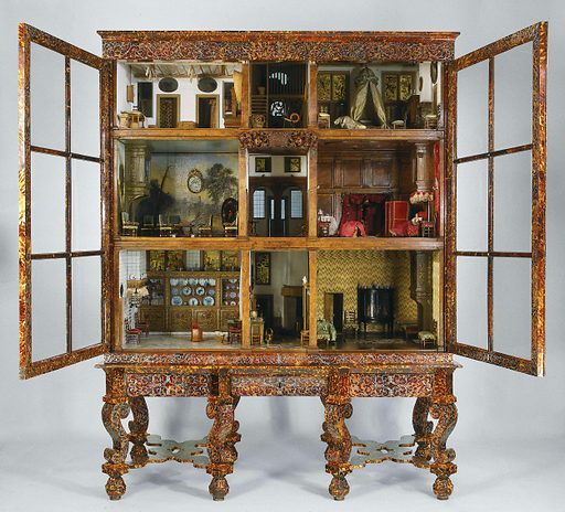This dolls' house is exceptionally realistic. All the contents have been made of authentic materials, and the proportions are exactly correct. The fine cabinet, of tortoiseshell decorated with pewter inlays, was made by a cabinetmaker from France, who worked in Amsterdam for several years. Petronella Oortman was married to the Amsterdam merchant Johannes Brandt. Origin: Amsterdam. Date: c 1686 – c 1710. Object ID: BK-NM-1010.