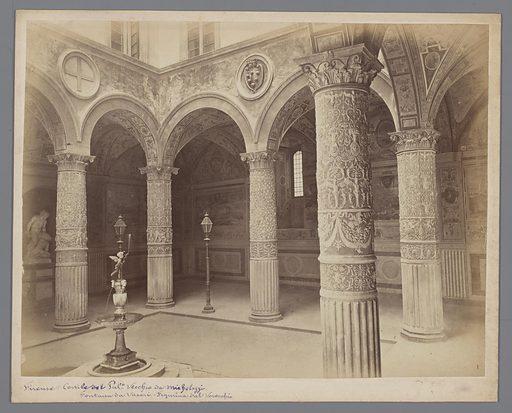 Firenze-Cortile del Pal. Vecchio da Michelozzi.Fontana da Vasari.Figurina dal Verocchio. Date: c 1850 – c 1920. Object ID: RP-F-F01933.